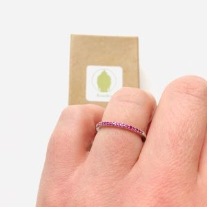 Fuchsia Ruby Sterling Silver Stackable Ring Band